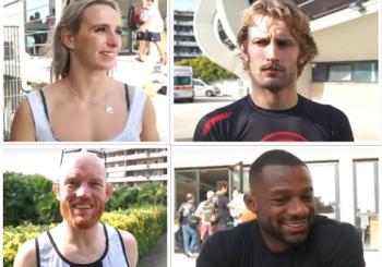 Wardziński, Davis i ich trenerzy udzielają rad osobom będącym na drodze od białego do czarnego pasa