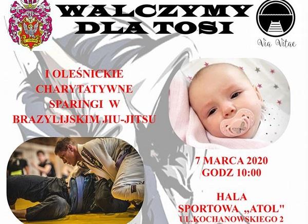 """I Oleśnickie Sparingi Charytatywne BJJ """"Walczymy dla Tosi"""" na początku marca"""