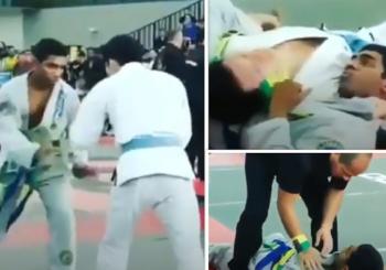 Ten loop choke wszedł tak mocno, że uśpił zawodnika podczas lokalnych zawodów [wideo]