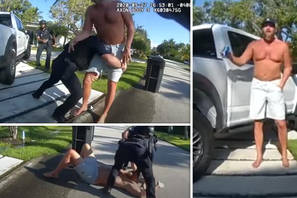 Policjant obala za nogi byłego menedżera kampanii Trumpa [wideo]